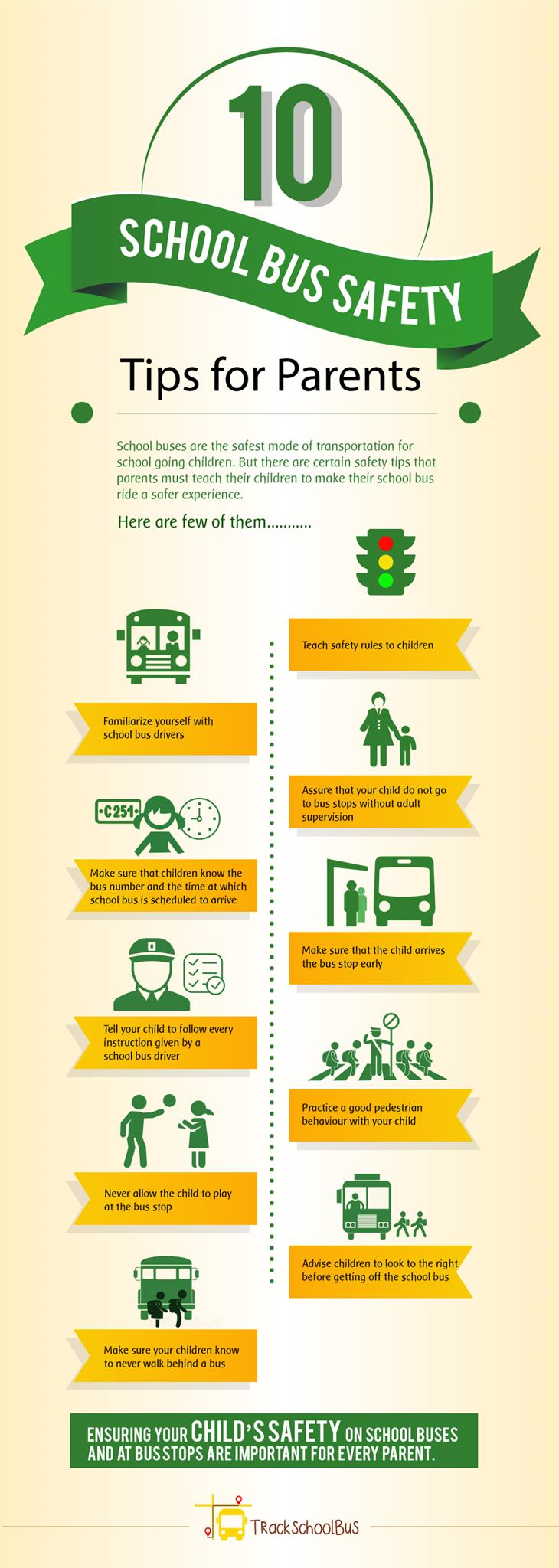 10 School Bus Safety Tips for Parents infographic