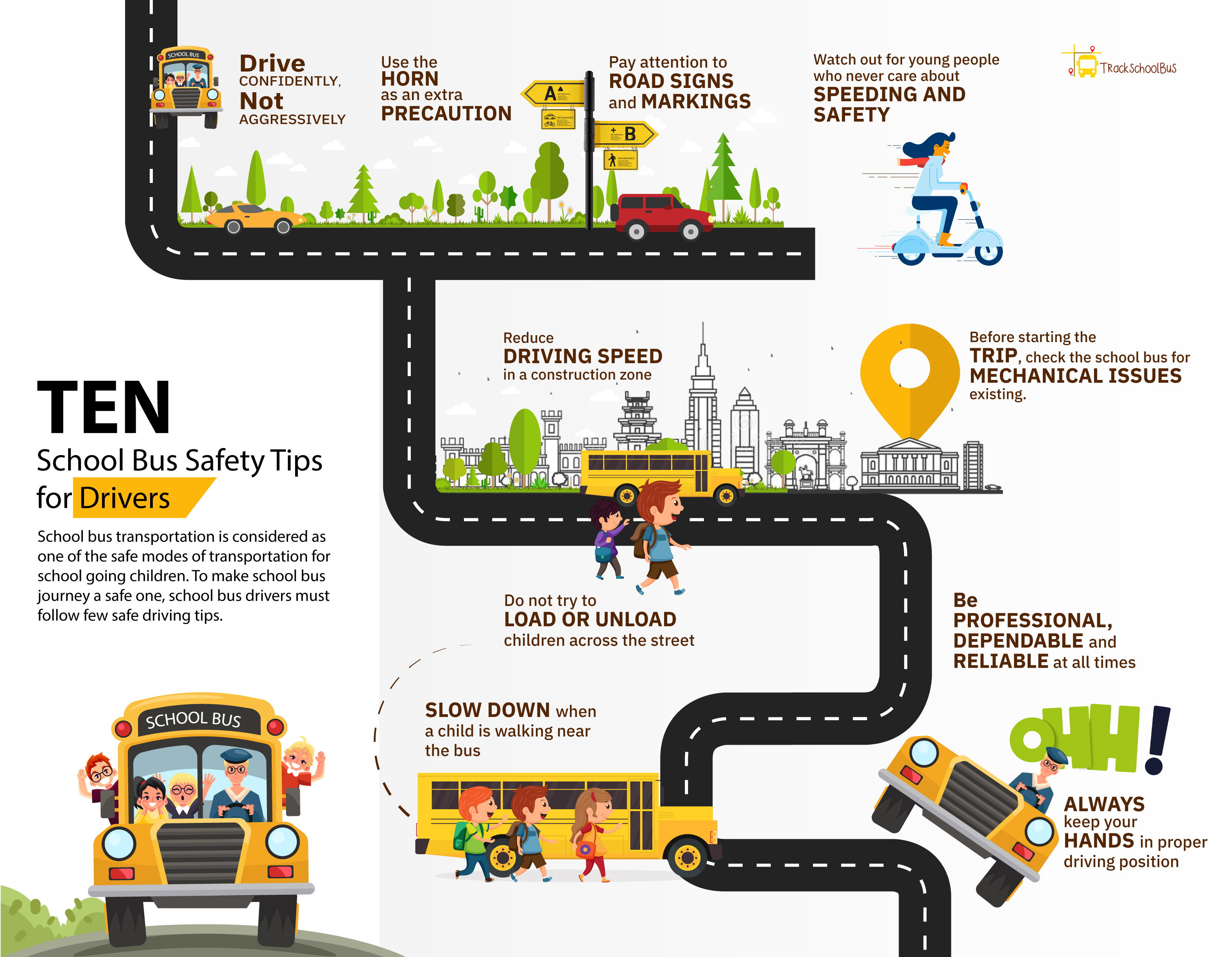 10 School Bus Safety Tips for Drivers infographic