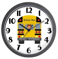 Wall clock with school bus design